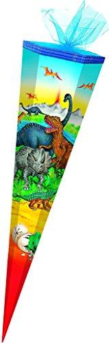 Schultüte - Dinosaurier 85 cm - mit Tüllabschluß - mit / ohne Kunststoff Spitze - Zuckertüte Dinos Saurier Dino T-Rex Jungen Tiere