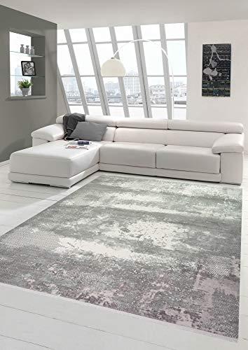 Wollteppich Designerteppich Teppich abstrakt aus Naturfasern in grau Creme Größe 80x150 cm