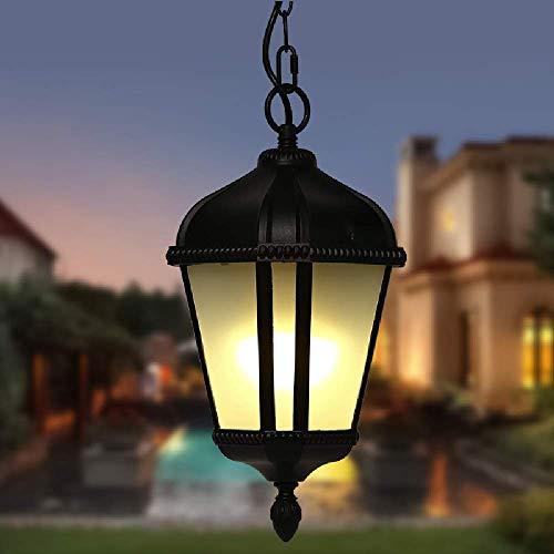 Lámpara colgante impermeable al aire libre negra retro E27 Lámpara colgante ajustable en altura Linterna cristal Lámpara araña jardín exterior metal Accesorio iluminación para patio Gazebo Balcón Marc