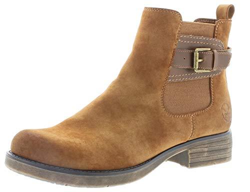 Rieker Damen Stiefeletten 91253, Frauen Chelsea Boots, Schlupfstiefel gefüttert Winterstiefeletten Frauen weibliche,REH,39 EU / 6 UK
