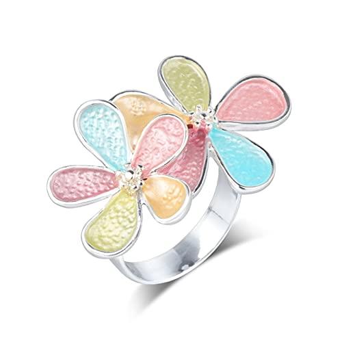 EzzySo Anillo de Flores, Americana, Personalidad, Creatividad, Apertura multicolora, joyería de Anillo de aleación Femenina Ajustable (2 Piezas),One Size (Adjustable)