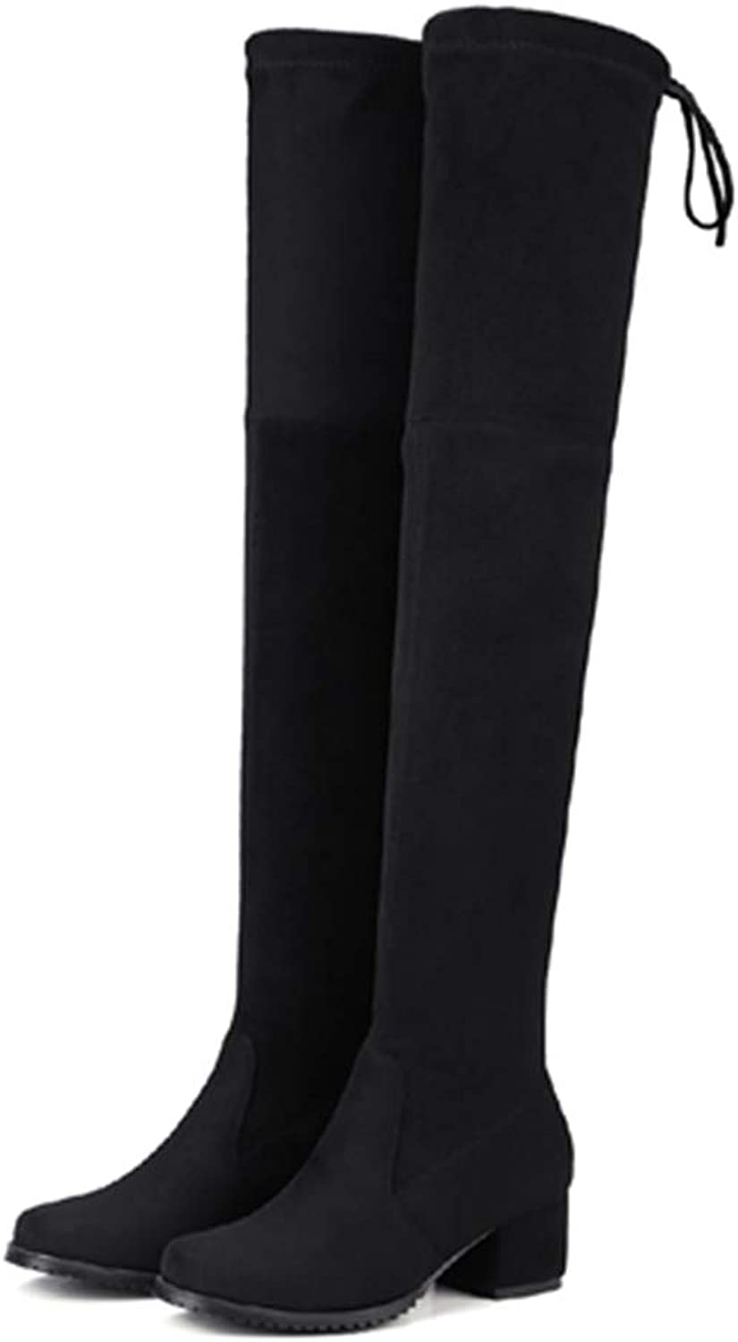 T-JULY Winter Boots for Women Stretch Fabric Thigh High Over The Knee shoes