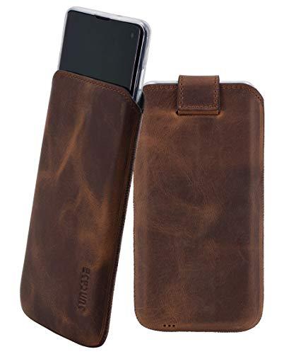 Suncase Etui Tasche kompatibel mit Samsung Galaxy S10 ZUSÄTZLICHER Hülle/Schale/Bumper/Silikon *Lasche mit Rückzugfunktion* Handytasche Ledertasche Schutzhülle Hülle in antik-Coffee