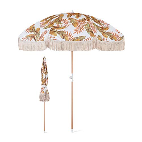 Sombrilla Terraza Parasol Jardin Sombrilla de Playa Pequeña con Ancla de Arena y Franja, Viaje Portátil 2m Sunbrella con Varilla de Madera, Sombrilla de Jardín Redonda para Pérgola de Patio