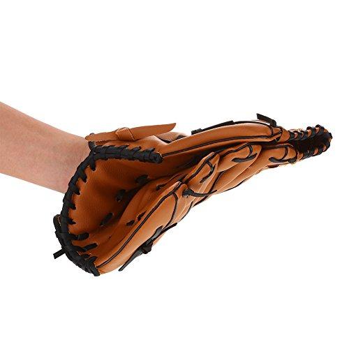Dilwe Baseballhandschuhe, Kinder Profi Linkshänder PVC Baseball Softball Übungshandschuhausrüstung(Braun)