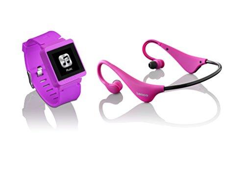 LENCO MP3 Sportwatch-100 mit BH-100 Bluetooth Kopfhörer (MP3, Micro-USB, Touchscreen, Schrittzähler, spritzwassergeschützt nach Norm IPX-4, Silikon-Uhrarmband) pink