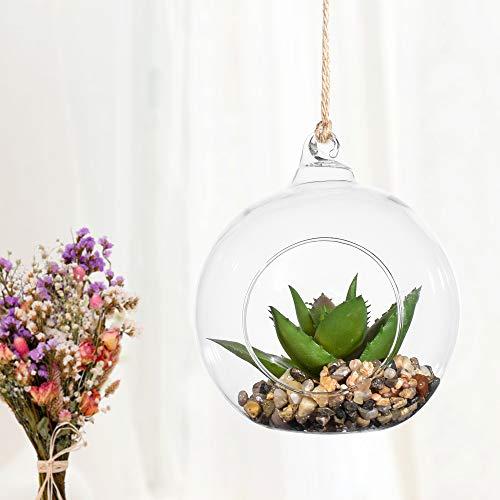 4 zoll Aufhängen Glas Kugel mit künstliche pflanzen,Kunstblumen Sukkulente Terrarium Globus mit Ring ziehen & Eben Unterseite Design Innen-Bonsai für Urlaubs Party Weihnachten Bäume Dekor,mit Hanfseil