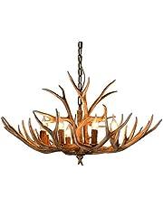 6 lampor ljuskrona lampa belysning ljuskrona hornlampa hornlampa taklampa, horn vintage stil för harts bar, restaurang, sovrum, husbelysning etc