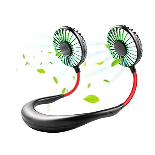 ventilador USB portátil ventilador manos libres recargable portátil banda para cuello Ventilador escritorio con doble cabeza 3 velocidades luz LED para deporte viajes al aire libre
