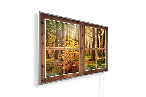Könighaus Fern Infrarotheizung - Bildheizung in HD Qualität mit TÜV/GS - 200+ Bilder – mit Smart Home Thermostat, steuerbar mit APP für Handy- 1000 Watt (262. Aussicht Fenster Wald)