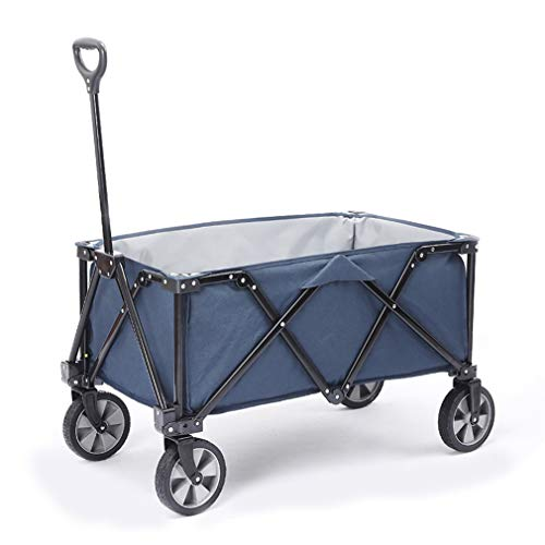 EDANQ Outdoor Wagon Cart,Collapsible Grocery Cart,Hand Wagon with Wheels for Garden Fishing Camping, 41.7X36.6X19.6,Load Bearing 120 Kg,Blue,A
