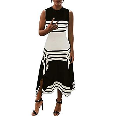 Muranba Womens Dresses Stripe Sleeveless Casual Dress Round Neck Midi Party