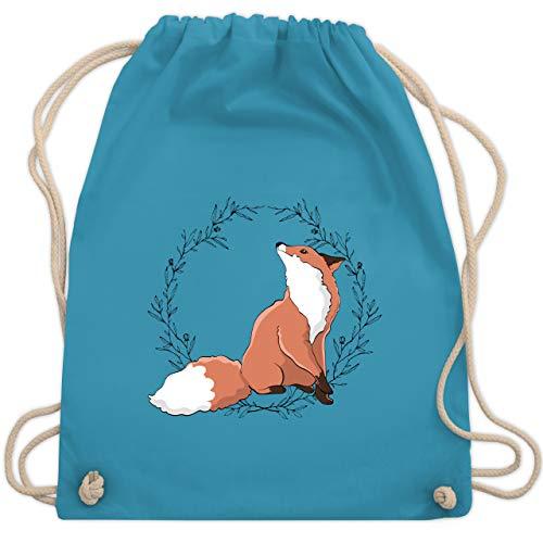 Shirtracer Sonstige Tiere - Fuchs mit Blumenkranz - Unisize - Hellblau - turnbeutel fuchs - WM110 - Turnbeutel und Stoffbeutel aus Baumwolle
