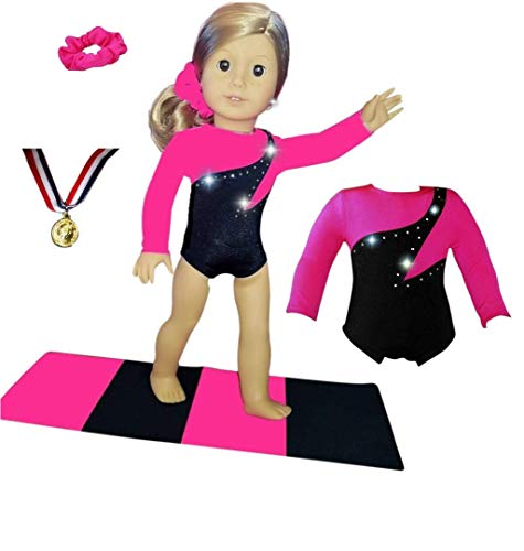Doll Connections 18 inch Doll Gymnastics Outfit Compatible with American Girl, Adora, Kindred Hearts, Our Generation and Journey Girls Doll Clothes (4 Pieces in All)