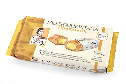 Matilde Vicenzi MilleFoglie Mini Snack Pasticcera (helle Cremefüllung) - Italienisches Blätterteiggebäck, 16er Pack (16 x 125 g)  4469