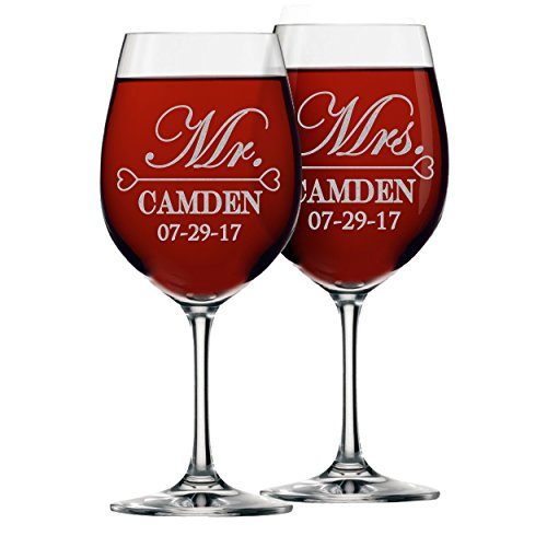Mr and Mrs Wine Glasses - Personalized Engraved Wedding for Couples - Custom Monogrammed - Set of 2