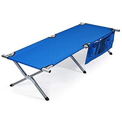 Goplus Folding Camping Cot, Heavy-Duty Foldable Bed for Adults Kids W/Carry Bag, Side Pockets, 450 lbs (Max Load), Outdoor Portable Sleeping Cot for Traveling