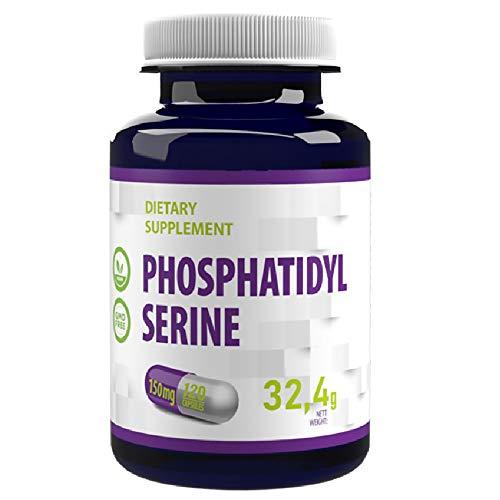 Phosphatidylserin 150mg (aus Soja) 120 Vegan Kapseln Hochdosiert, Fur Konzentration Und Gedächtnis