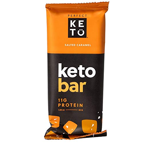 Perfect Keto Protein Snacks - 3 Boxes, 36 Bars - Low Carb Diet Friendly with Coconut Oil, Collagen, No Added Sugar - Sweet Treat in Salted Caramel Flavor - Individual Packs for Travel, Hiking