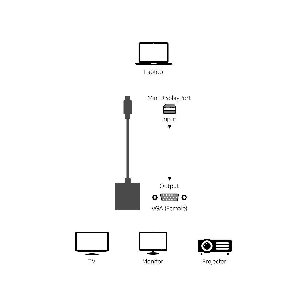 Amazon Basics Mini DisplayPort to VGA Monitor Adapter - Apple Compatible
