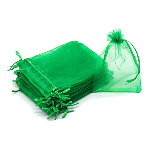 "Dealglad 100pcs Drawstring Organza Jewelry Candy Pouch Party Wedding Favor Gift Bags (3x4"", Green)"