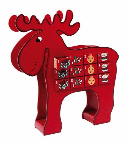 """Adventskalender """"Elch"""" aus bunt lackiertem Holz, mit 24 kleinen Schubladen, zum Verstecken von kleinen Überraschungen, verkürzt das Warten auf Weihnachten"""