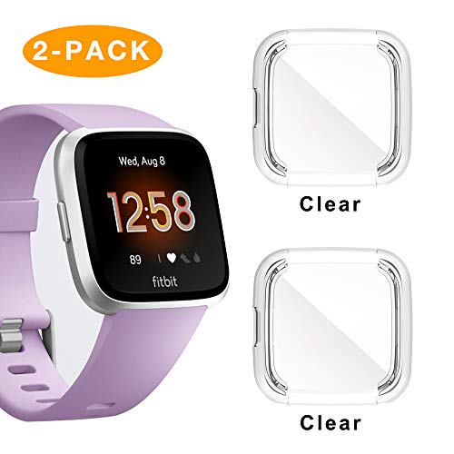 Compatible Fitbit Versa Lite Screen Protector Case,2 Pack TPU Plated Full Cove Cover Bumper for Fitbit Versa Lite Edition Smart Watch Accessory …