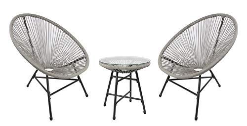 RayGar Juego de 3 piezas de silla de jardín para interiores y exteriores (gris)