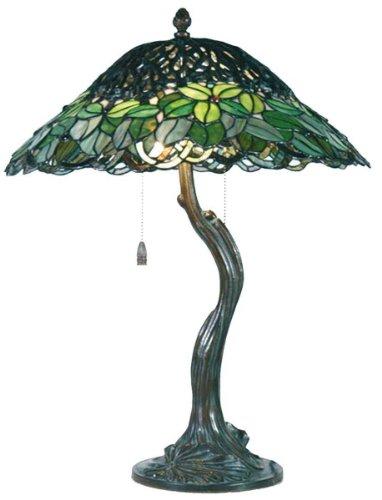 LumiLamp 5LL-5386 - Lampada da Tavolo in Stile Tiffany, a Forma di Albero, Ø 47 x 58 cm, 2X E27, Max 60 W, Colore: Verde Vetro colorato Decorativo, Stile Tiffany, Realizzato a Mano, Paralume in Vetro