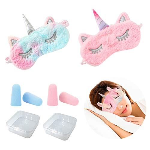 COSYOO 2 Stück Augenmaske Tierhorn Soft Sleeping Eyeshade Eye Blinder Augenabdeckung mit 2 Paar Schaumstoff Ohrstöpsel