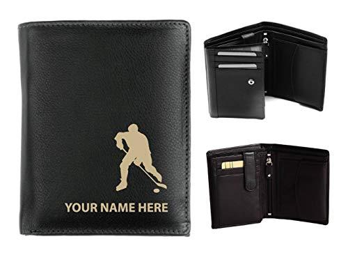 Herren-Geldbörse, Leder, personalisierbar mit Lasergravur, Ihr Name, Eishockey-Motiv, Origin