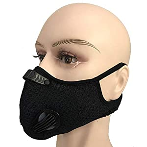 Outdoor Anti-dust Mask, PM 2.5 Windproof Cycling Facemask Washable Face Cover for Outdoor, Sports, Motorcycles (Black_Type4)