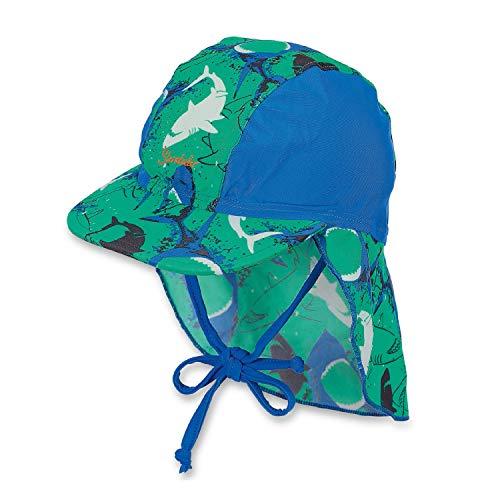 Sterntaler Schirmmütze für Jungen mit Nackenschutz, Alter: 5-6 Monate, Größe: 43, Grün/Blau (Pfefferminz)