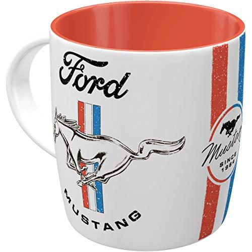 Nostalgic-Art 43065 Retro Kaffee-Becher Ford Mustang – Horse – Geschenk-Idee für Auto Zubehör Fans, Große Keramik-Tasse mit Spruch