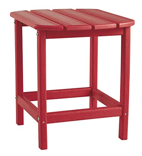 Signature Design by Ashley - Sundown Treasure Outdoor End Table - Hard Plastic - Slat Top - Red