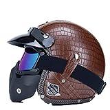 Casco De Motocicleta Harley para Adultos Retro PU Leather 3/4 Open Face Cruiser Chopper Cafe Racer Casco Vintage Moto Casco Protector Temporadas Universal