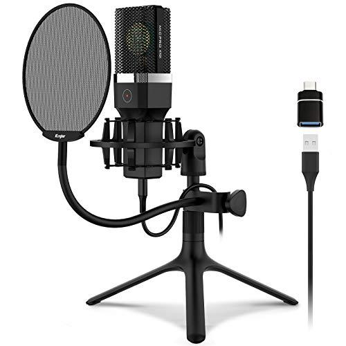 Kungber USB Mikrofon PC Computer Microphone mit Metallstativ, kompatibel mit Handy, Laptop, Desktop, 2021- KT01