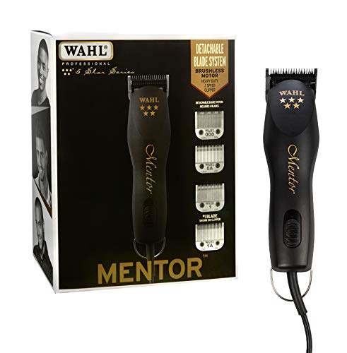 Wahl Professional 5-Star Mentor Clipper with 4 Detachable Blades with a High and Low Speed Brushless Motor for Professional Barbers and Stylists - Model 8235