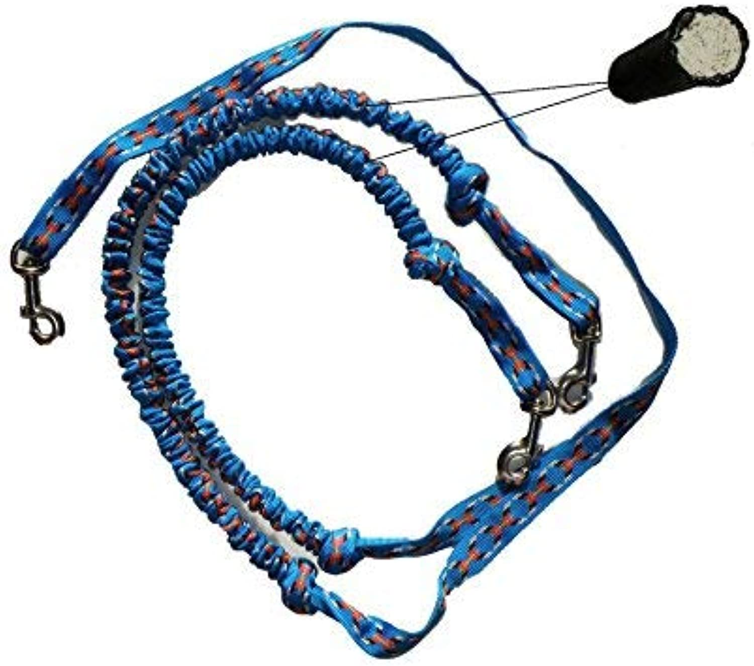 Double Dog Lead, Leash with integrated Bungee, Sleigh, Bike, Jogging, Joring, Canicross