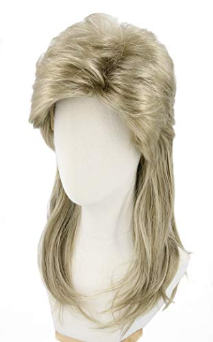 Topcosplay Mens Mullet Wig Dirty Blonde 80s Wigs Blond Long Halloween Costumes Wigs