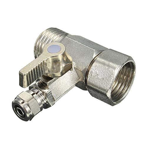 Interruptor de la válvula de bola Alimentar adaptador agua 1/2' a 1/4' Válvula de bola de grifo de alimentación de ósmosis inversa de plata