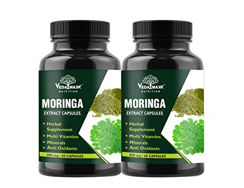 VEDA MAXX Moringa Extract Capsules Supplement Natural Source Of Vitamins, Minerals, Proteins And Amino Acids 800mg – Pack 2, 120 Vegetarian Capsules