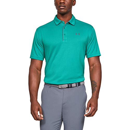 Under Armour Men's Tech Golf Polo , Teal Rush (454)/Pitch Gray , Large