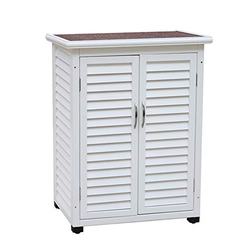Outdoor garden shed solid wood storage cabinet, double-layer balcony tool storage cabinet with locking door, waterproof and sunscreen farm sundries storage cabinet, used for lawn care equipment
