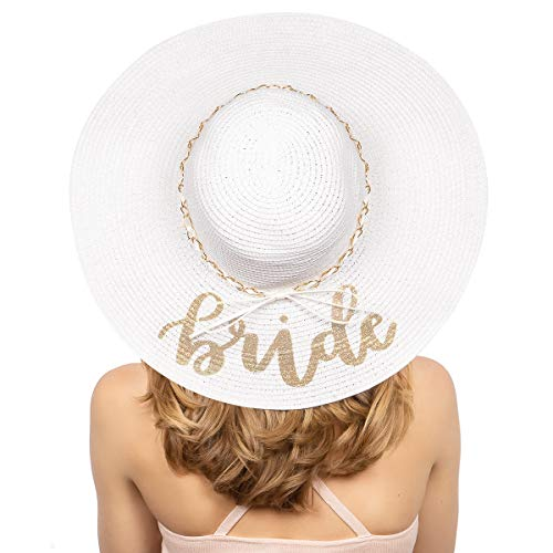 xo, Fetti Bride Sun Hat | Bachelorette Beach Gift, Bridal Favor, Honeymoon, Wedding, Engagement White, Gold