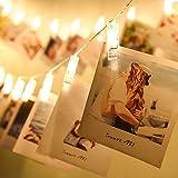 10 Clips fotos LED Luces cuerdas 1.5 m, Luces clavija fotos Luces hadas navideñas que funcionan con pilas Perfecto para...