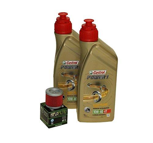 Cambio de aceite Set 2litros Castrol SAE 10W de 40Power 14t Incluye Filtro de aceite HiFlo hf131para Suzuki, Kreidler, Sachs, Hyosung GA 125, RT 125, GT 250