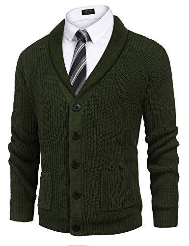 COOFADNY Mens Shawl Collar Cardigan Sweaters Cable Knit Pocket Casual Long Sleeve Button Front Sweater