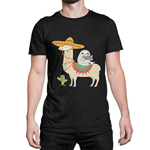SKQIT Camiseta Personalizada Sloth Riding Llama Mexican Hat Men