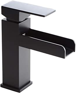 Homary Contemporary Matte Black Waterfall Bathroom Vanity Sink Faucet Lead Free Solid Brass Single Handle One Hole Deck-Mount Lavatory Sink Faucet Pop Up Drain Included, cUPC Listed